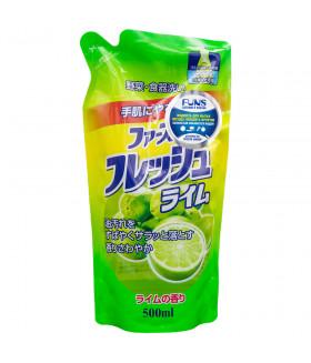 FUNS Жидкость для мытья посуды овощей и фруктов, свежий лайм (запасной блок), 500мл