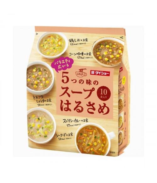 Суп с лапшой Харусаме 5 вкусов (Карри, Мисо, с морепродуктами, Тонкоцу с соевым соусом, Овощной на курином бульоне) 10 порций, 164.8г DAISHO