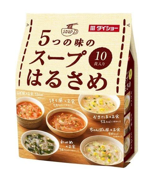 Суп с лапшой Харусаме, 5 вкусов (с водорослями, Кимчи Чиге, Какитама дзиру с яичными хлопьями, Чампон острый с морепродуктами, Тан-тан острый с кунжутом)  10 порций, 164.6г