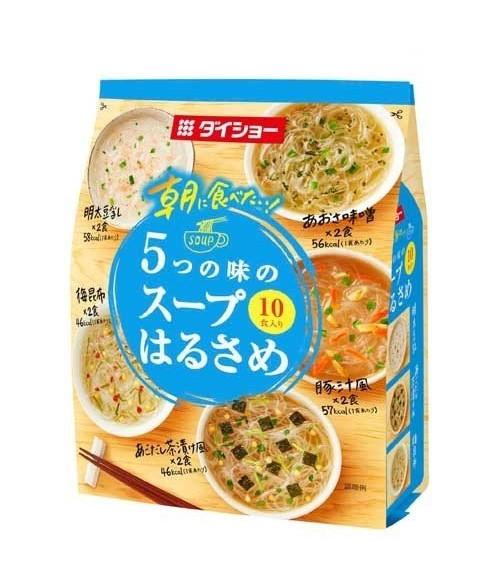 """Суп с лапшой Харусаме, 5 вкусов (Мисо с водорослями АОСА, Тондзиру с овощами, Икра минтая с соевым молоком, с бульоном Летучей рыбы""""АГО"""", с Конбу) 10 порций, 152.8г"""